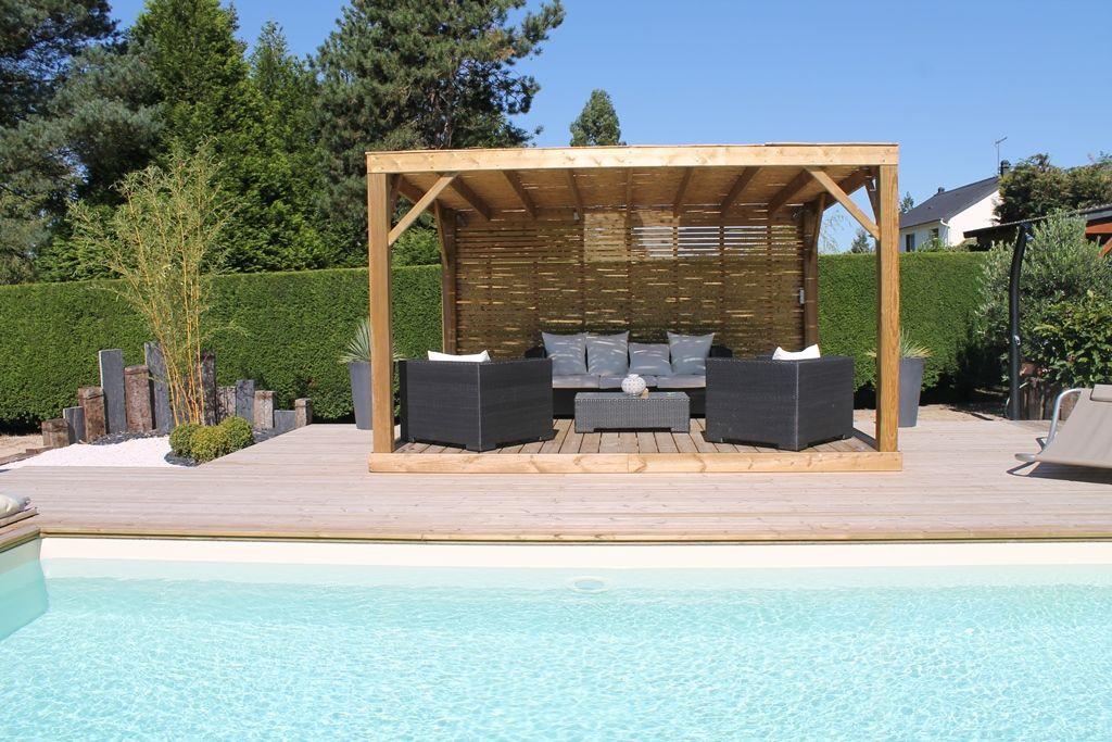 piscine caron pergola salon convivialite t. Black Bedroom Furniture Sets. Home Design Ideas