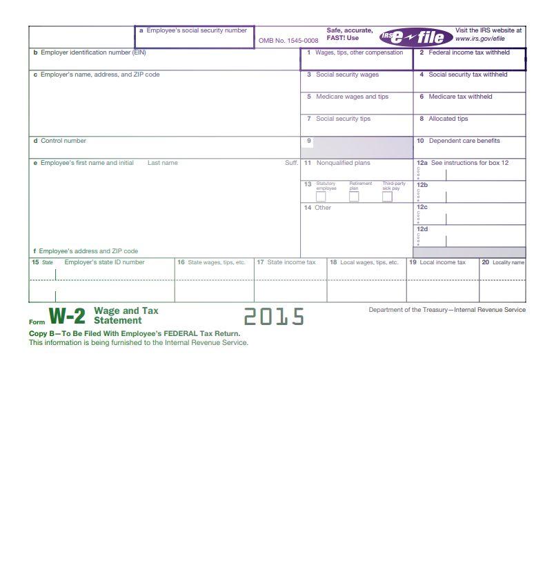 Form IRS W-2 2015
