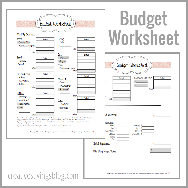 Building Your First Budget – Personal Budgeting Worksheets