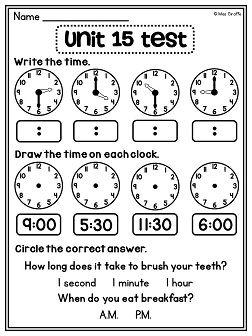 First Grade Math Unit 15 Telling Time   First Grade Math ...
