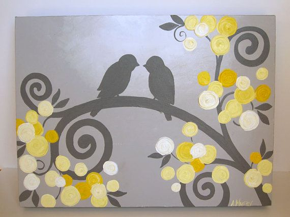 Wall Art Yellow And Grey Textured Birds And Flowers Acrylic Painting On Canvas Art Wall Kids Canvas Painting Canvas Art