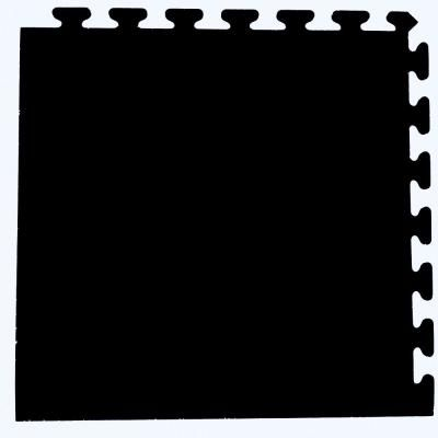 Solid Black 24 in. x 24 in. Finished Corner Recycled Rubber Floor Tile (16 sq. ft./ case)-EZFLEXCNRBK - The Home Depot