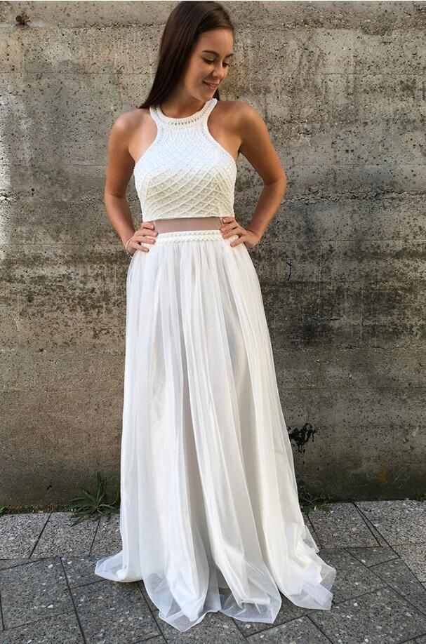Two Pieces Prom Dress Long, Back To School Dresses, Prom Dresses For ...