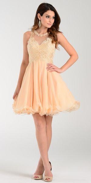 Poly USA 7456 Short A Line Chiffon Prom Dress Champagne Sheer Neck ...