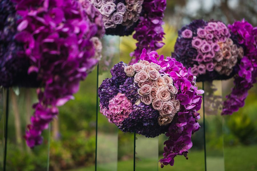 Ritz Carlton Laguna Niguel Wedding by Lin and Jirsa 14 Ceremony Details Purple Ombre Flowers