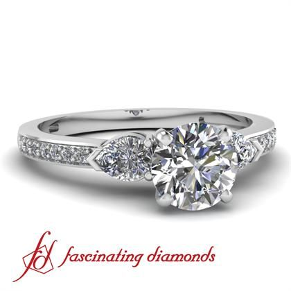 Petite 3 Three Stone Diamond Fleur Engagement Ring Pave Set
