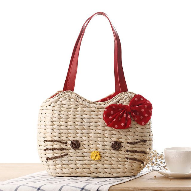 10a90b5e43 Cute Little Girls Bags Bow Tie Shoulder Bag Korean Straw Bag Fashion Woven  Handbag Women Totes Beach Bags