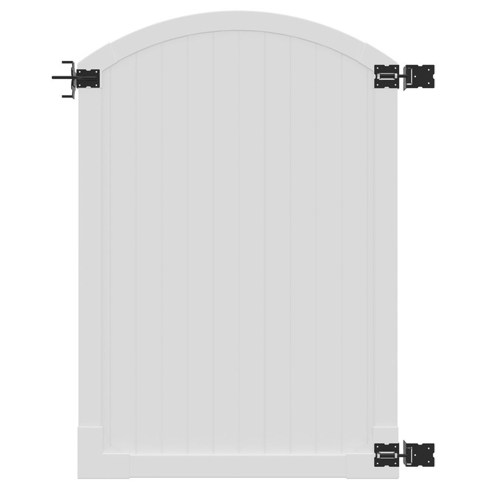 4 Ft X 6 Ft Premium Vinyl Arched Top Fence Gate With Powder Coated Stainless Steel Hardware Vinyl Gates Steel Hardware Hardware