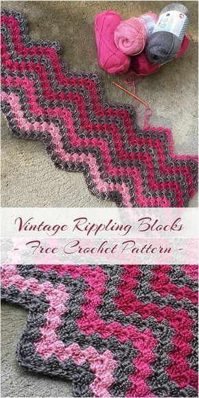 Vintage Rippling Blocks [Free Crochet Pattern] | Knitella - Crochet Knit Patterns #freereadingincsites