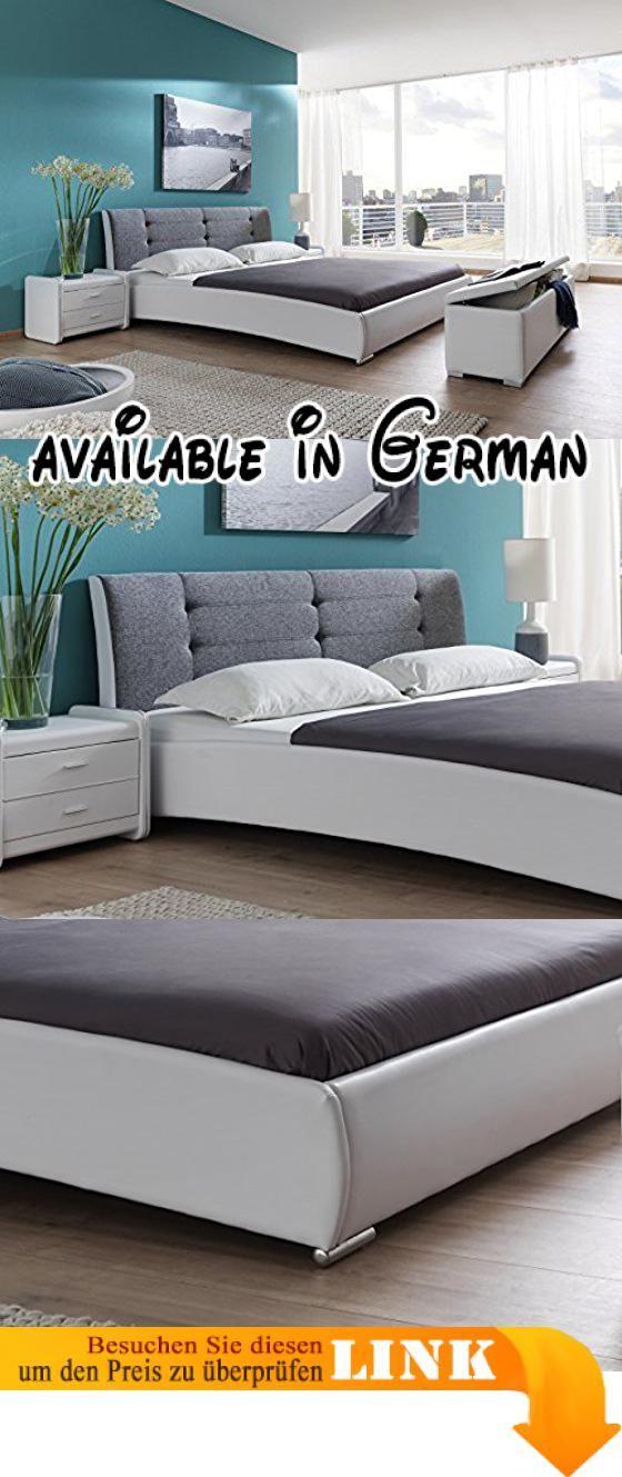 B00YN9MANY : SAM Polsterbett 90x200 cm Bastia weiß-grau Bett mit ...