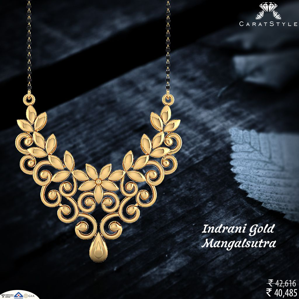 Trendy gold mangalsutra over the traditional designs exquisite
