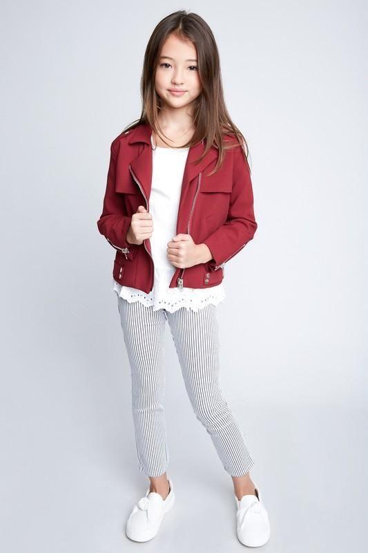 Burgundy Girls Moto Style Jacket