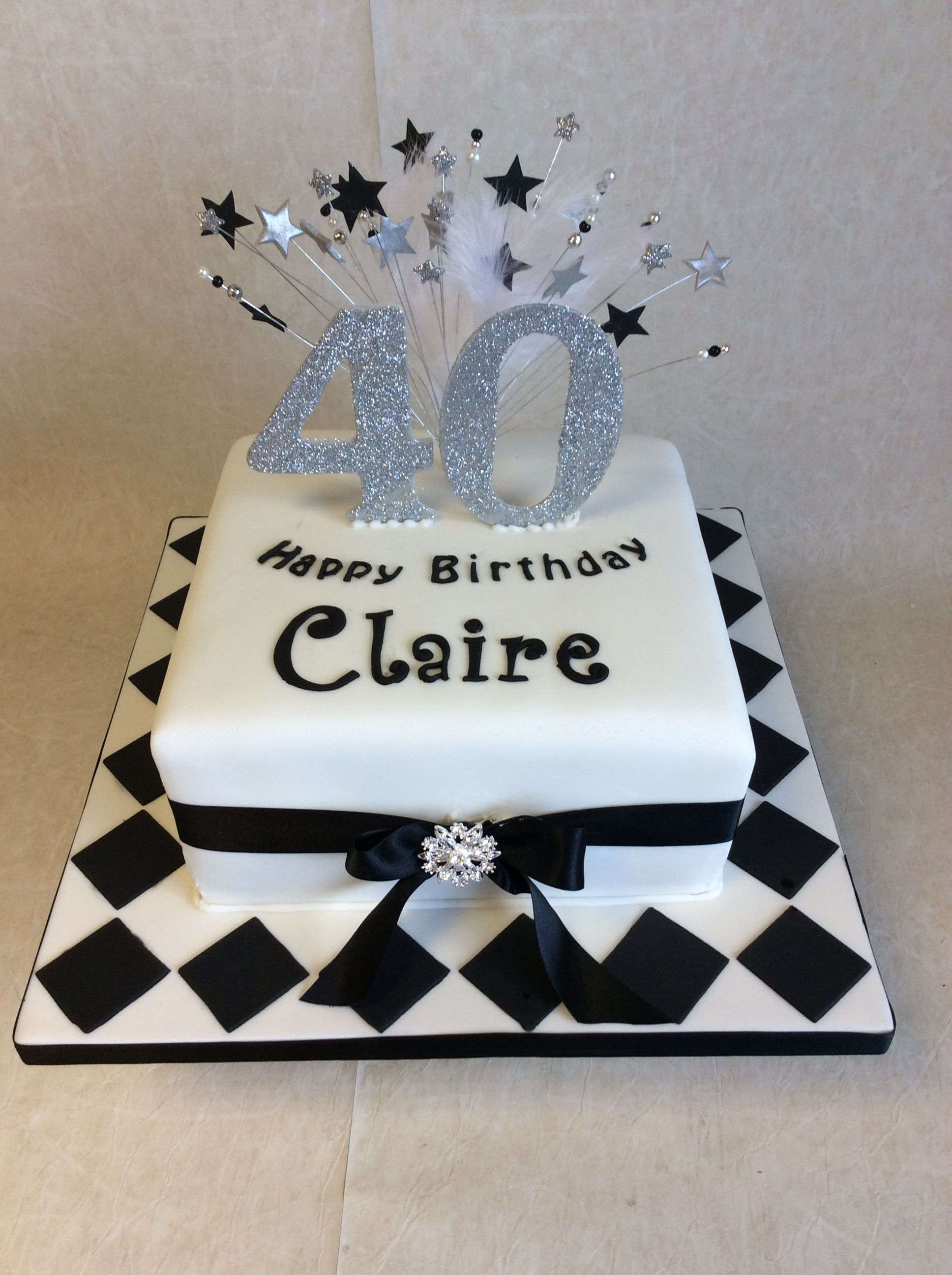 40th Birthday Cake Ideas.Black White With Silver 40th Birthday Cake In 2019 40th