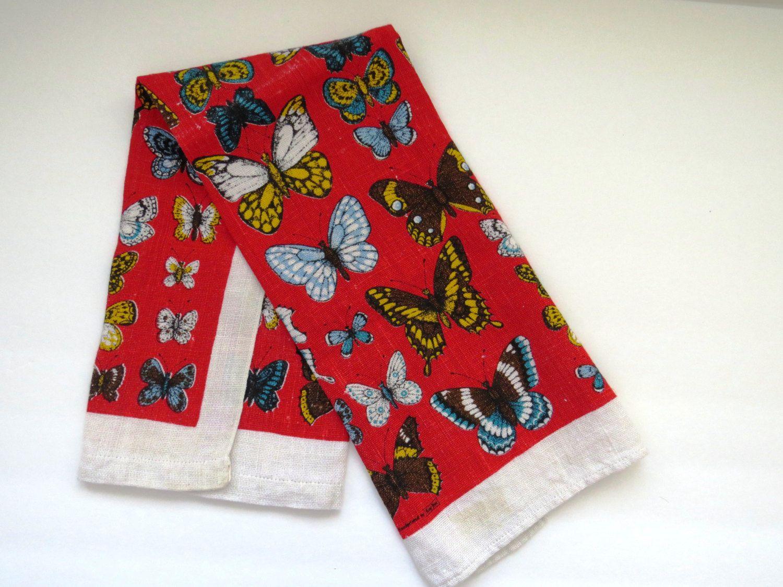 Charmant Vintage Butterflies Tea Towel Dish Towel   Hand Printed By Kay Dee   Linen    Monarch