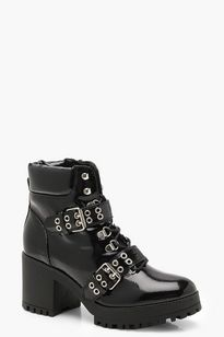 ef210e7a6f11 Patent Double Strap Lace Up Chunky Hiker Boots