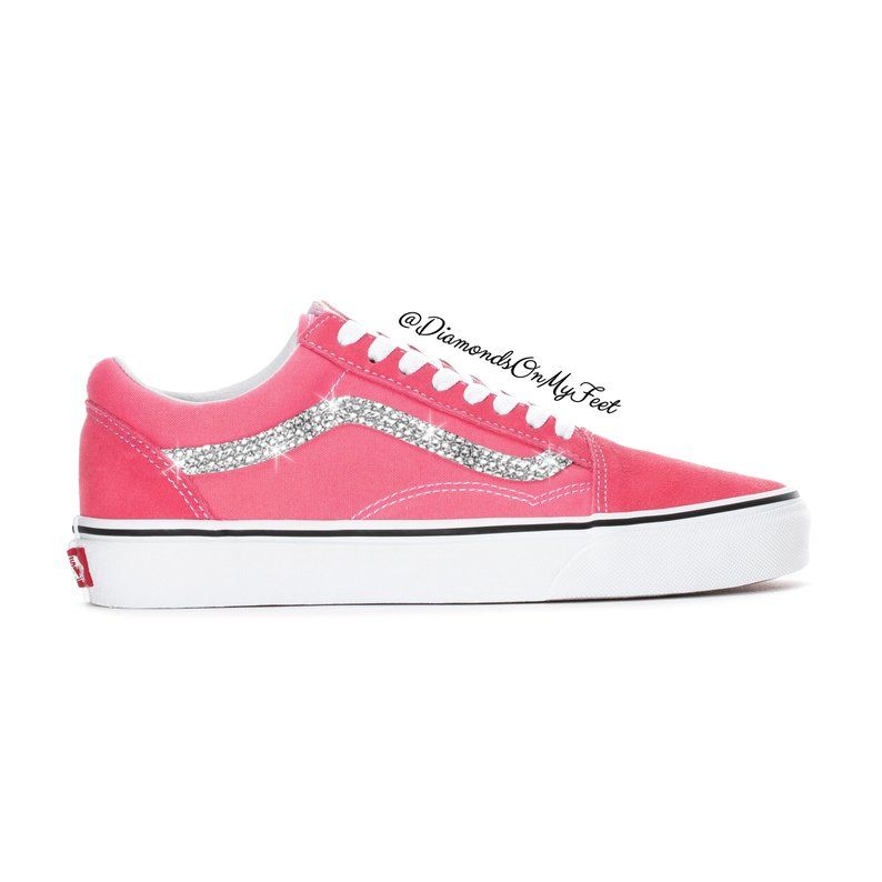 d503a63506ceb Swarovski Women's Vans Old Skool Dark Pink Low Top Shoes Sneakers ...