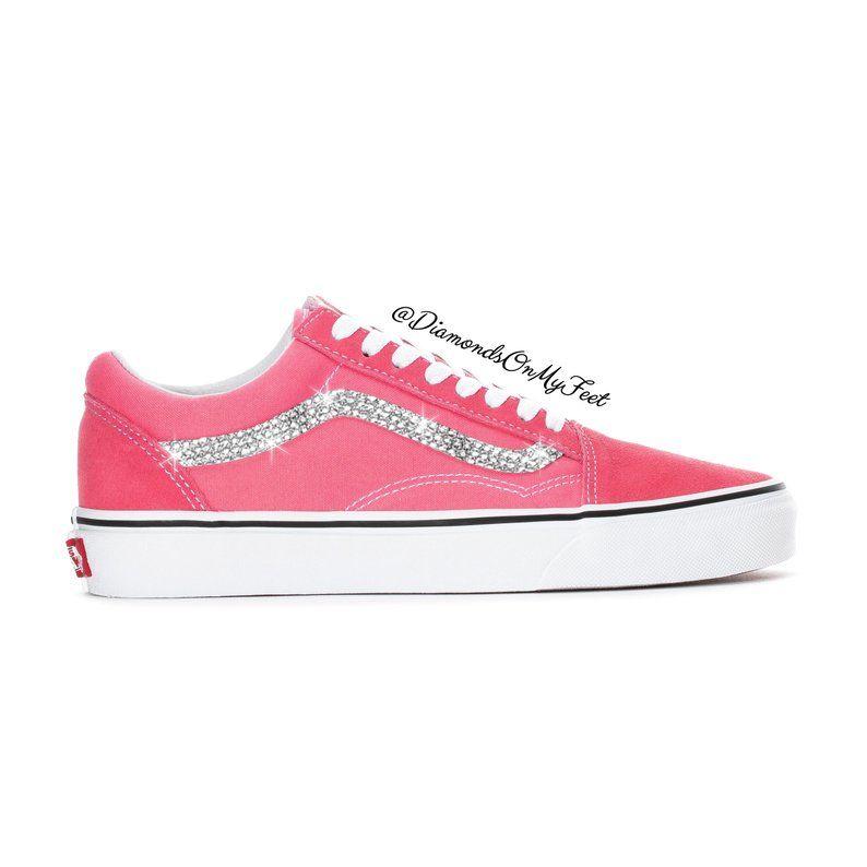 86a6d35c1269a Swarovski Women's Vans Old Skool Dark Pink Low Top Shoes Sneakers ...