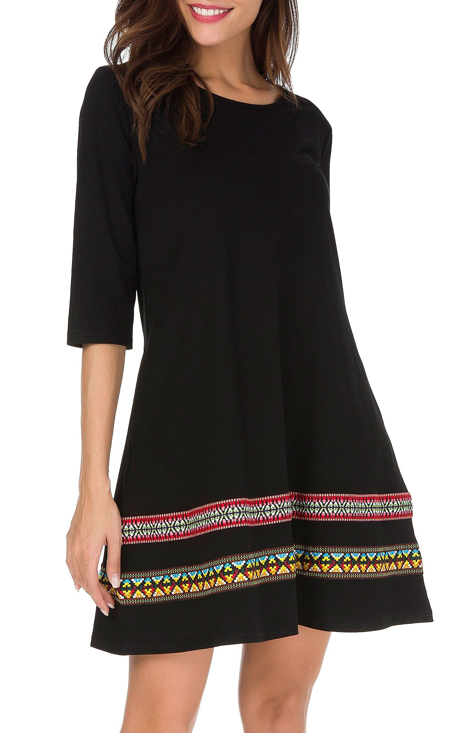 439bc2be9c7 THANTH Womens 3 4 Sleeve ALine Embroidered Loose Casual TShirt Tunic Dress  Black M -- Read more reviews of the product by visiting the link on the  image.