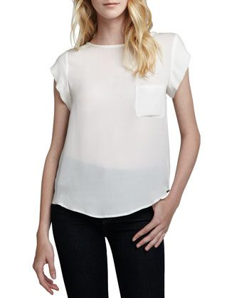Rancher Short-Sleeve Blouse, Porcelain by Joie at Neiman Marcus.
