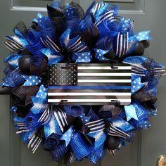 Thin Blue Line Wreath Police Wreath Front Door Wreath