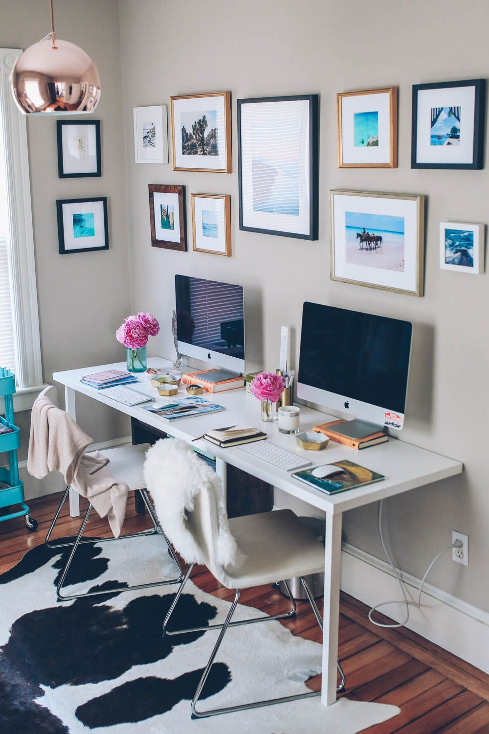 Get This Office Look By Shopping With Lulu And Georgia Shop The Faux Cowhide Rug Here Landgathome Home Office Design Home Office Decor Office Decor