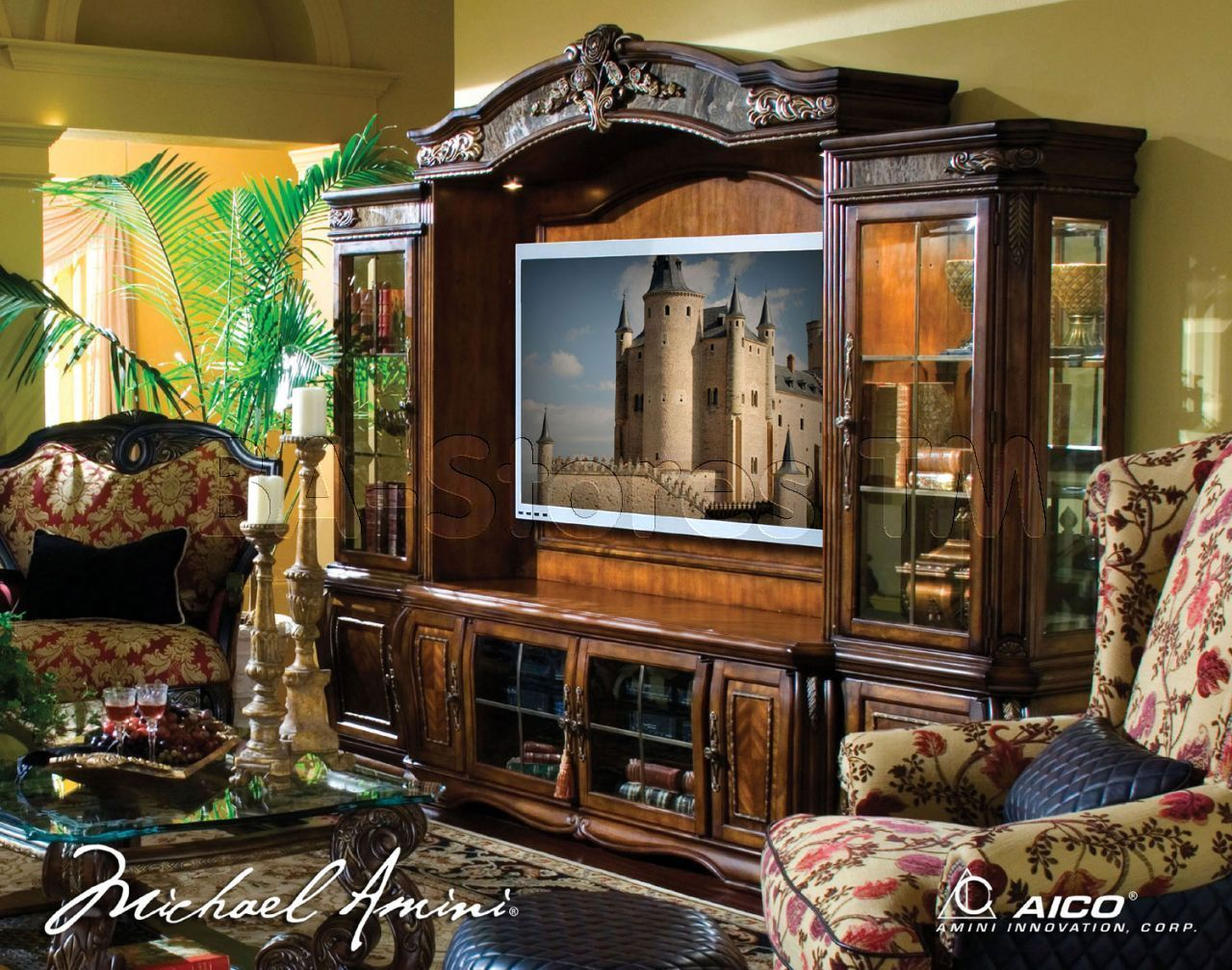 oppulente 4 pc entertainment wall unit in sienna spice by michael oppulente 4 pc entertainment wall unit in sienna spice by michael amini