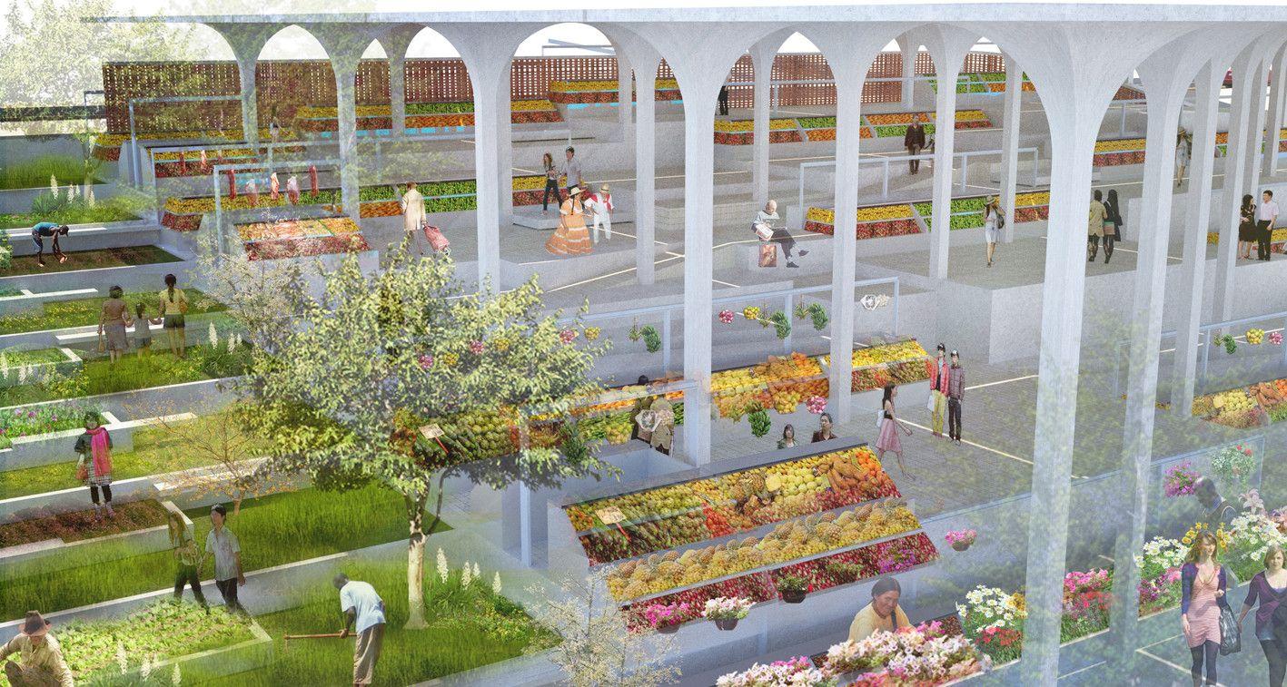 Primer Lugar en Concurso de anteproyecto Plaza de Mercado de Nuevo Gramalote / Colombia,Courtesy of Jheny Nieto + Rodrigo Chain
