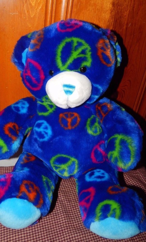 "BUILD-A-BEAR DARK BLUE PEACE SIGN BEAR 12"" PLUSH-NEON RED,BLUE,GREEN - EUC! #BuildABear #AllOccasion"