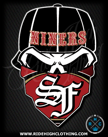 San francisco niners skull football vinyl decal sticker ride high clothing all