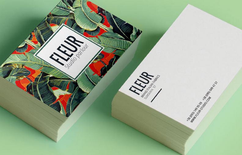 Carte De Visite Fleur Studio Un Ct En Couleurs Et Motifs Sobre Avec Les Coordonnes