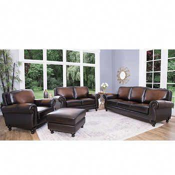 Venezia 4-piece Top Grain Leather Living Room Set # ...