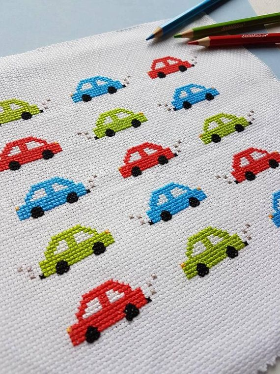Cars Cars Cars! – cross stitch pattern pdf – beginners easy modern instant digital download LS1003