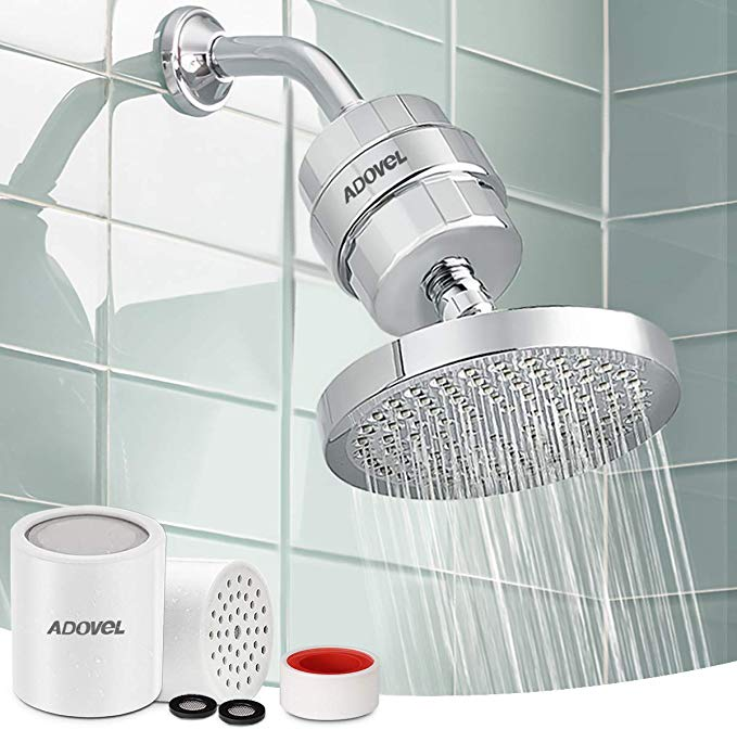 Adovel High Output Shower Head And Hard Water Filter 15 Stage