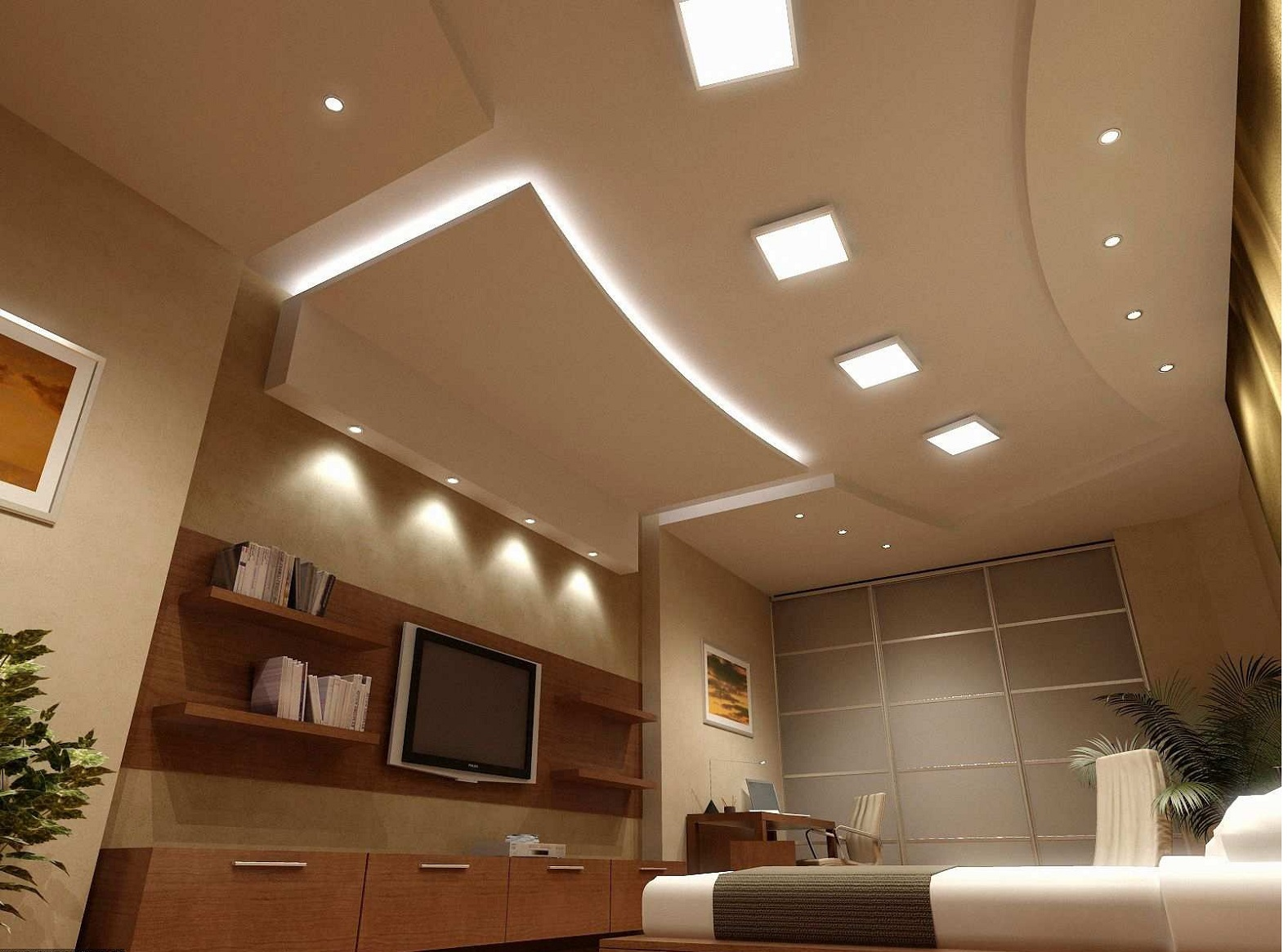ceiling lights for bedroom. Home design  Pleasing White Recessed Lighting With Curved Dropped Ceiling Style Plus Wooden Bedroom Wall
