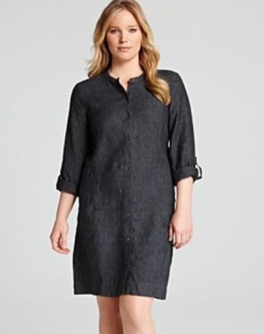 Plus Size Eileen Fisher Linen Shirtdress | Style | Pinterest ...