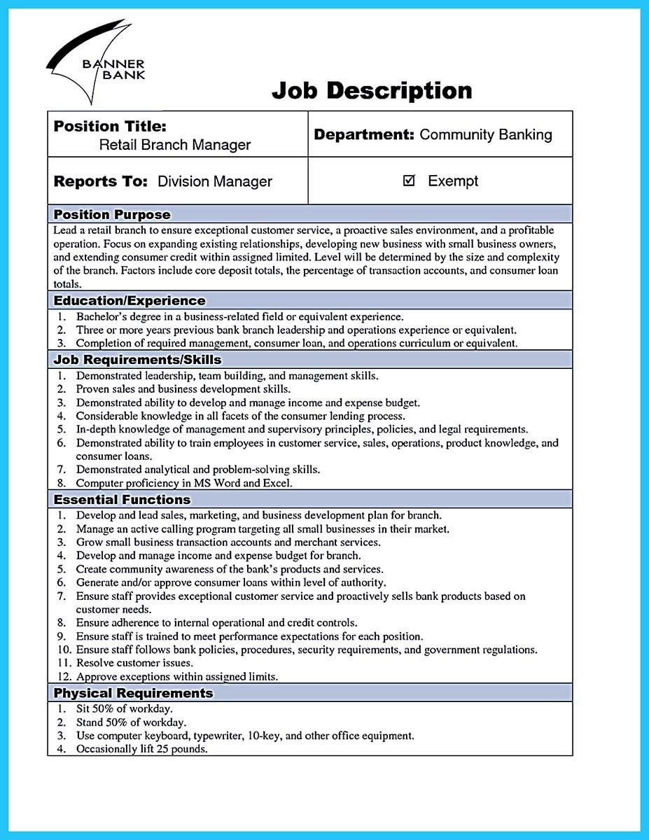 cool Starting Successful Career from a Great Bank Manager Resume ...