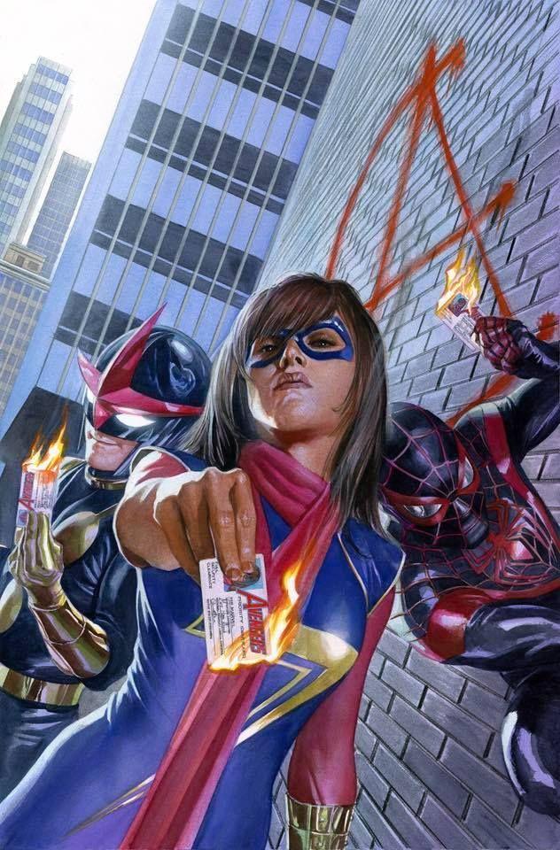 Ms. Marvel, Nova and Ultimate Spider-Man by Alex Ross *   Ms marvel kamala, Marvel comics art, Ms marvel