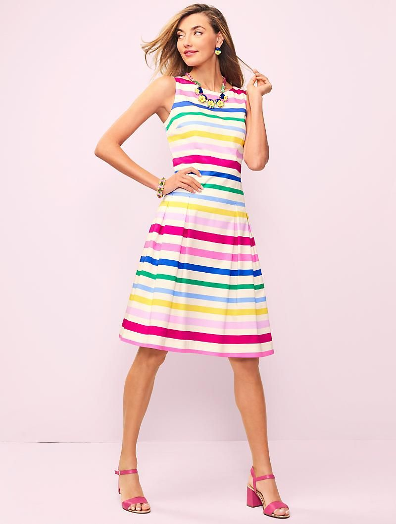 Stripe Fit And Flare Dress Talbots Fit And Flare Dress Flare Dress Classy Summer Outfits [ 1057 x 800 Pixel ]