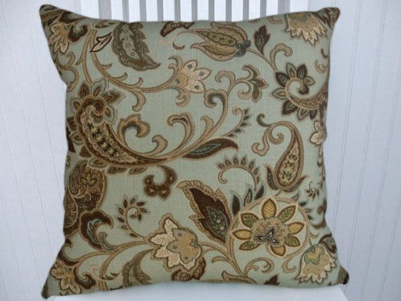 Floral Decorative Pillow Cover  18x18 Or 20x20 Or 22x22 Paisley And Floral Throw  Pillow