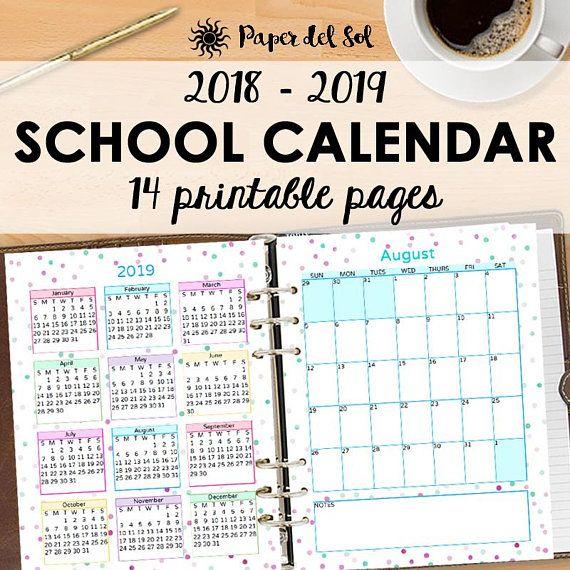 2018 2019 school calendar printable planner academic calendar school calendar 2019 calendar
