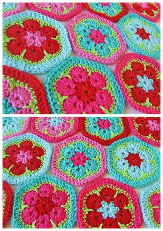 Haakkamer7 Patroon Vrolijke Hexagons Haken Colorfull Breien