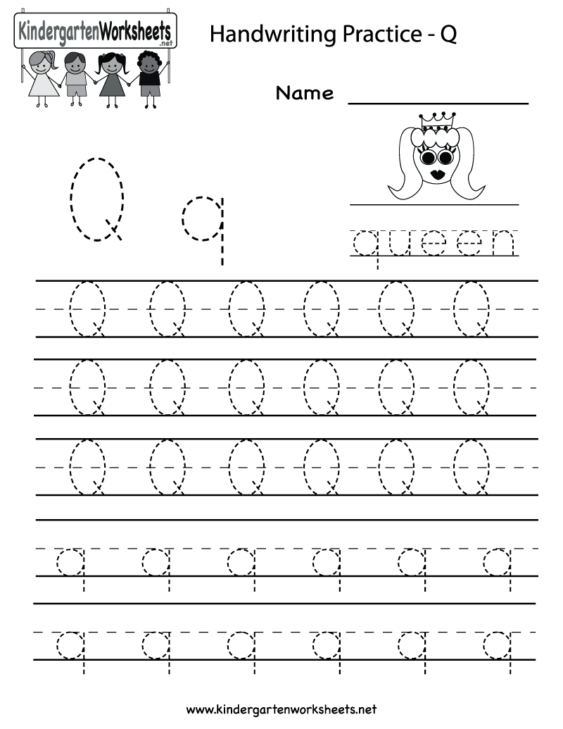 Kindergarten Letter Q Writing Practice Worksheet Printable ...