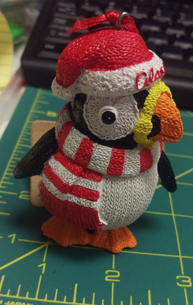 New Cute Knitted Puffin with Alaska Hat polystone ornament ...