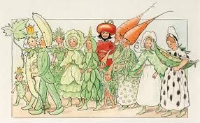 Most popular tags for this image include: vintage, children, Elsa Beskow, garden