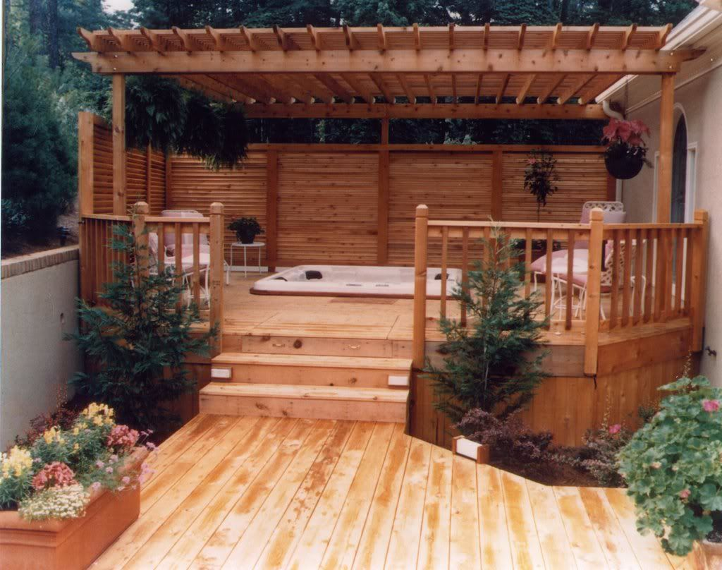 Privacy Deck Pergola Hot Tub Outdoor Hot Tub Backyard Hot Tub