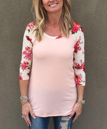 9876b8b9 Loving this Peach & Ivory Floral-Sleeve Raglan Tunic on #zulily! # zulilyfinds