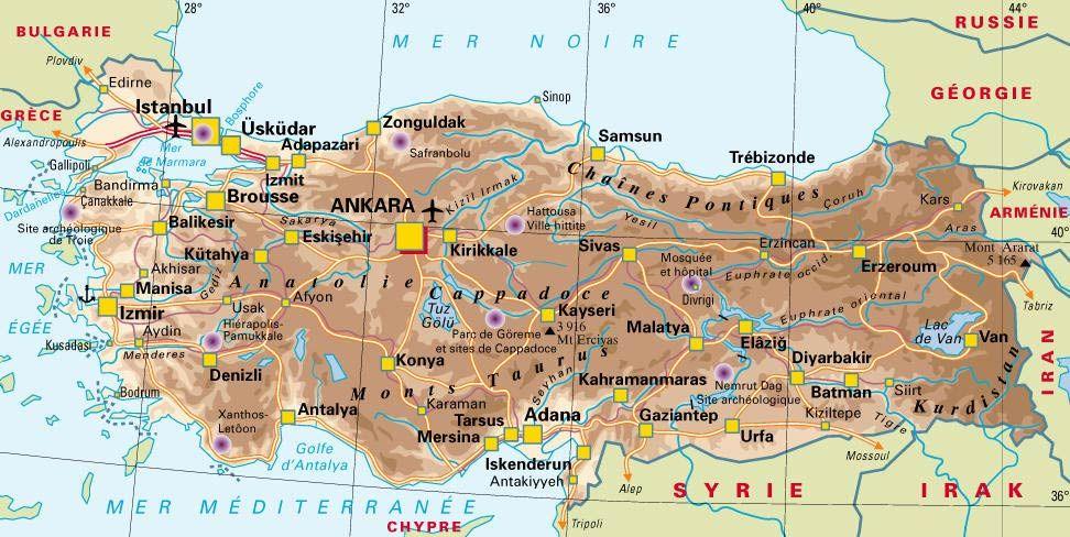 CARTE de la TURQUIE | Europa pla| GEOGRAPHIE | Pinterest