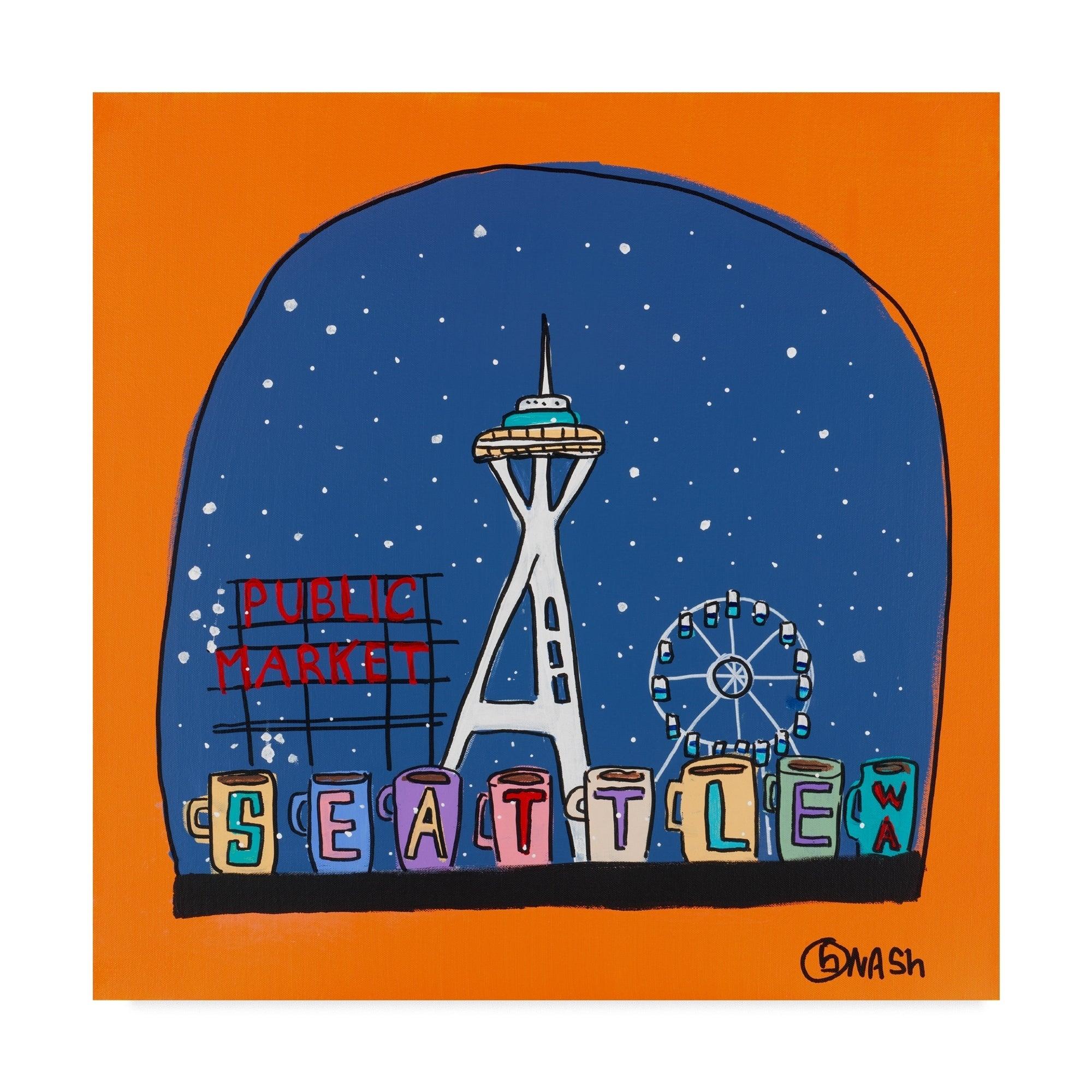Brian Nash 'Seattle Snow Globe' Canvas Art (14 x 14