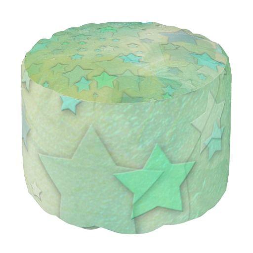 Aquamarine Stars Celestial Pastel Design Round Pouf