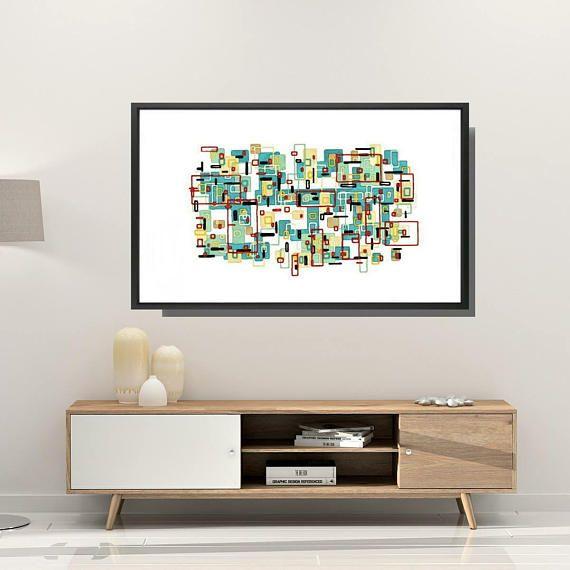 Mid century modern, Framed art print, Abstract art print, Framed ...